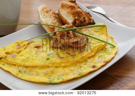 Omelet With Ham, Cheese And Onion