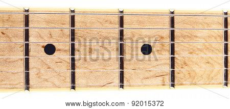 electric six-string guitar fretboard, isolated on white poster