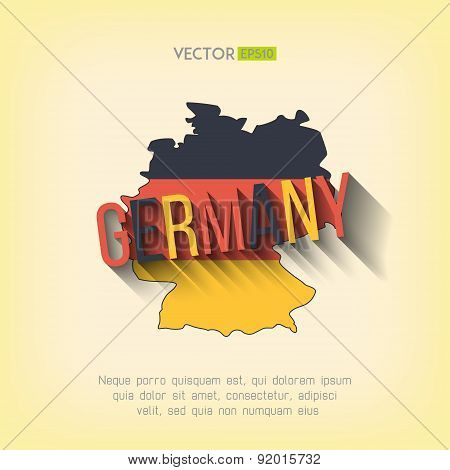 Vector germany map in flat design. German border and country name with long shadow