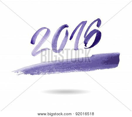 Happy new year 2016. Watercolor vector. Inscription 2016