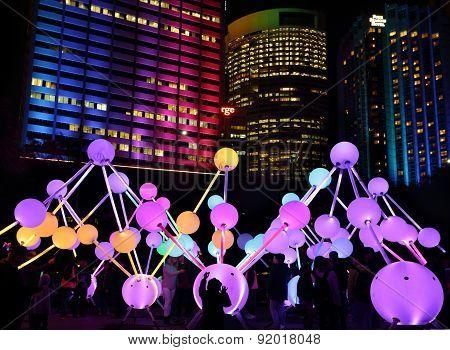 Participants Enjoying Affinity Light At Vivid Sydney