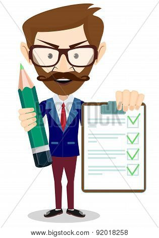 Man Holding a pencil and Document in Which All Approved
