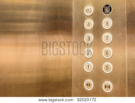 image of stainless steel elevator panel push buttons. poster