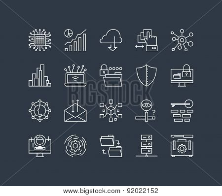 Network Data Process Line Icons Set