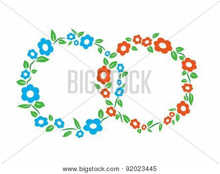 Blue and red vintage Flower interlinked rings frame decoration vector illustration