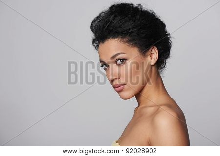 Beauty closeup profile portrait of beautiful woman