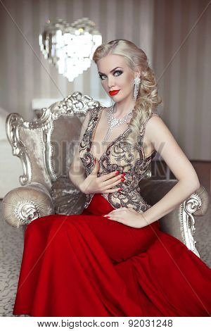 Fashion Model Portrait Of Beautiful Sensual Blond Woman With Makeup In Luxurious Dress With Bijou, P
