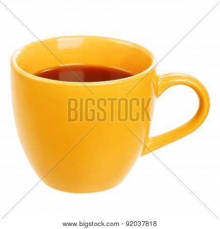 Orange cup of black tea