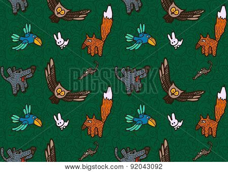 vector seamless pattern with different hand drawn forest animals and birds
