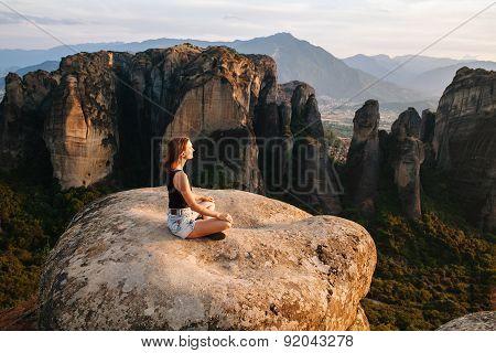 Meteora Monasteries On The Sunset