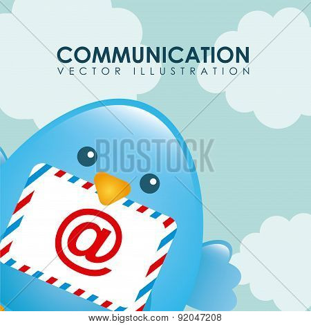 Birdie design over cloudscape background vector illustration