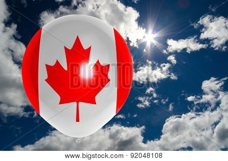 Balloon With Flag Of Canada On Sky