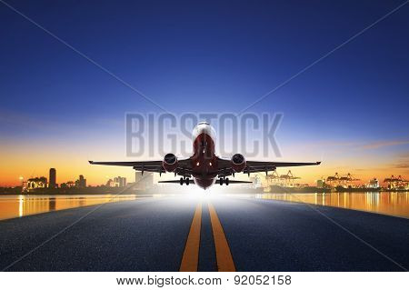 Cargo Plane Take Off From Airport Runways Against Ship Port Background Use For Air Transportation An