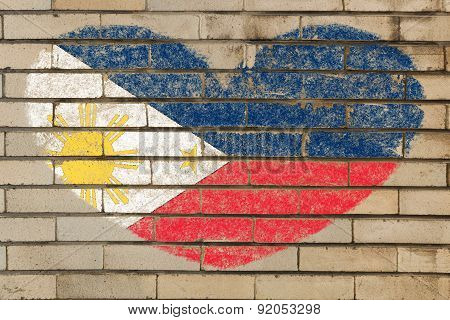 Heart Shape Flag Of Phillipines On Brick Wall