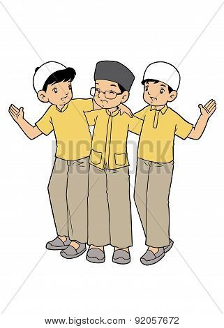 Group of muslim boys playing