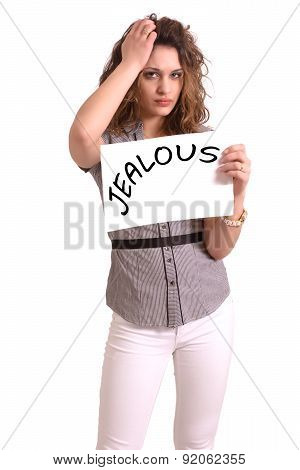 Uncomfortable Woman Holding Paper With Jealous Text