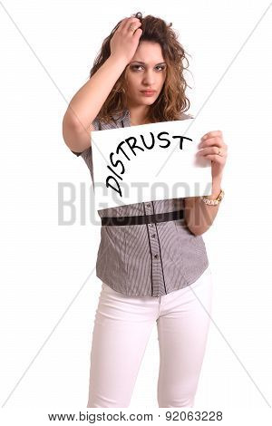 Uncomfortable Woman Holding Paper With Distrust Text