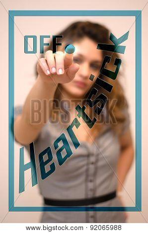 Woman Switching Off Heartsick On Digital Interace