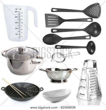 Kitchen utensils isolated on white