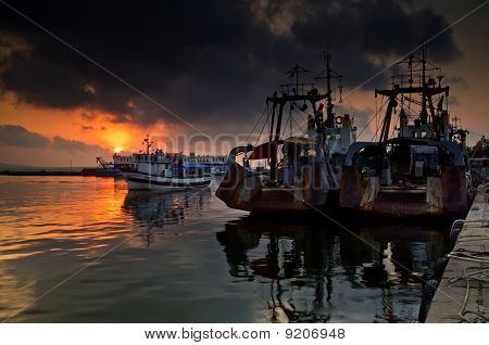 Ships On Sunset At Sozopol Harbour, Bulgaria