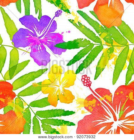 Bright watercolor tropical flowers vector seamless pattern