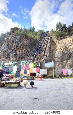 Caucasus. A Funicular Is In The Canyon Of Adyr-su.