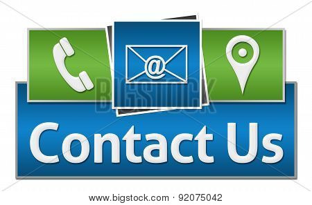 Contact Us Green Blue Squares