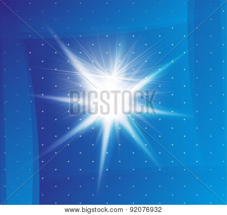 Explosion on a blue background template