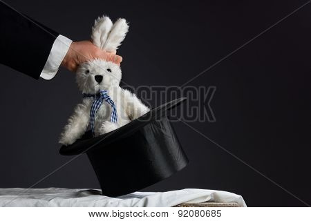 Man In Suit Pulling A Rabbit Out Of The Hat