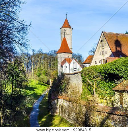 gate in old romantic city of Dinkelsbuehl