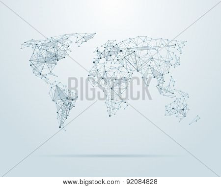 Vector low poly world map illustration