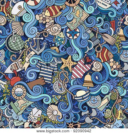 Seamless pattern sealife and marine