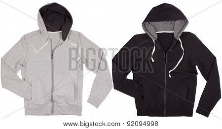 Two hoodie shirts isolated on white background