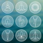 Vector yoga illustration. Set of linear yoga icons, yoga logos in outline style. Design elements for yoga poster. Yoga class, yoga center, yoga studio, spa center. Yoga sticker. Yoga symbols. poster