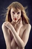 sensual topless woman cover her naked body poster