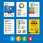Brochure or flyers design. Dollar, Euro, Pound and Yen currency icons. USD, EUR, GBP and JPY money sign symbols. Business poll results infographics. Vector poster