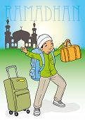 Indonesian muslim kid homecoming with bags for Ramadhan poster