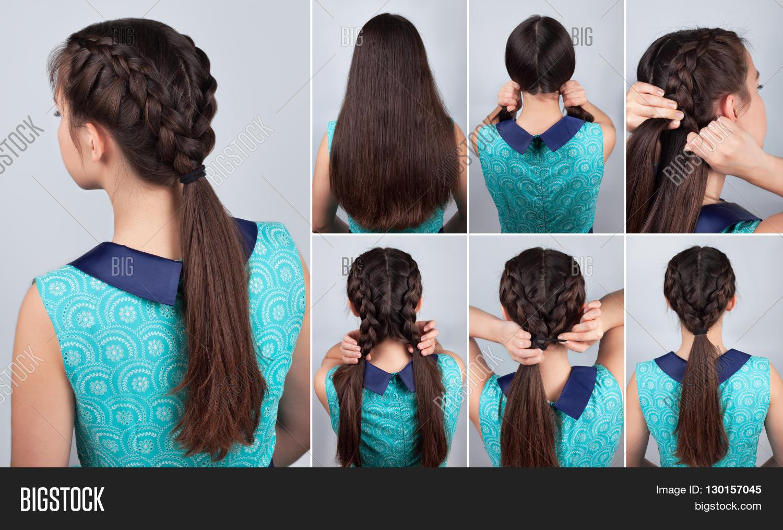 Hairstyles Braids Easy Tutorial: Simple Braid Hairstyle Tutorial. Image & Photo