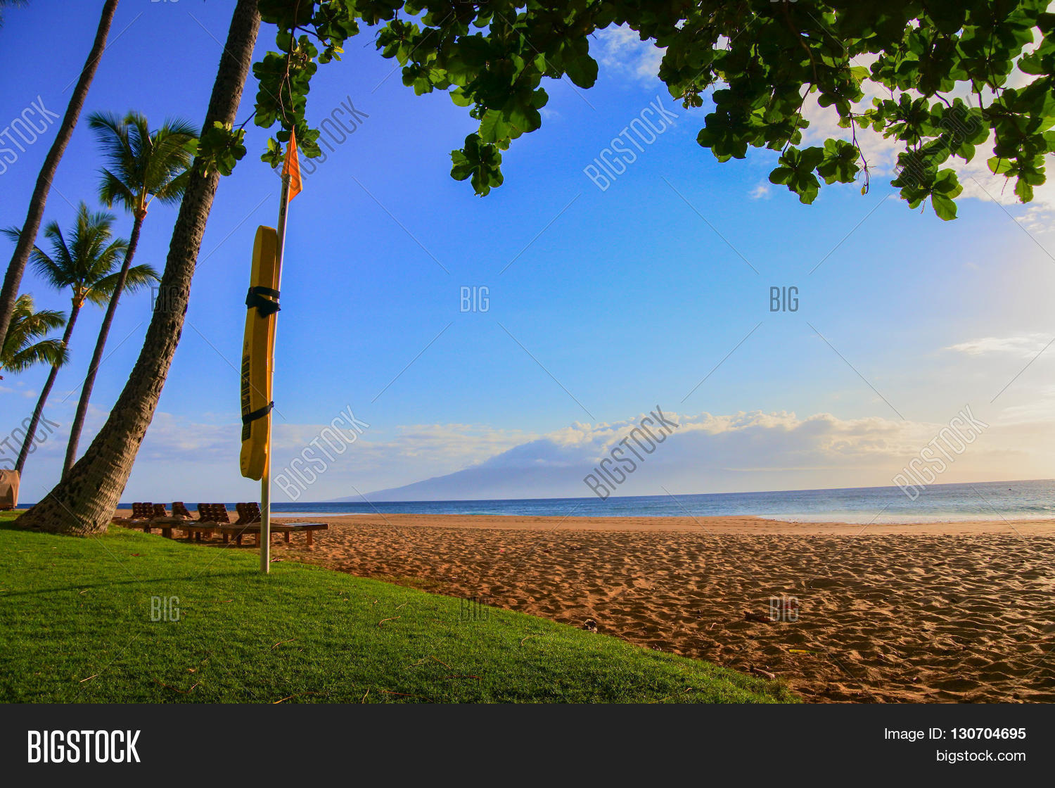 d1f491ab5e90 Luxurious Lahaina beach coastline found in Maui showcasing lifeguard  floatation device.