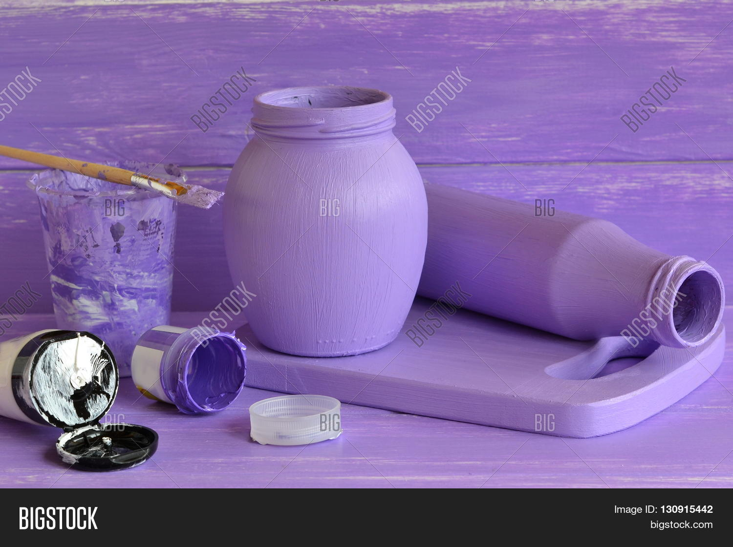 Painted glass jars tubes acrylic image photo bigstock for Decorative items by waste material