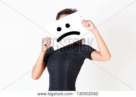 Woman In Elegant Dress Holding Dissatisfied Face Paper