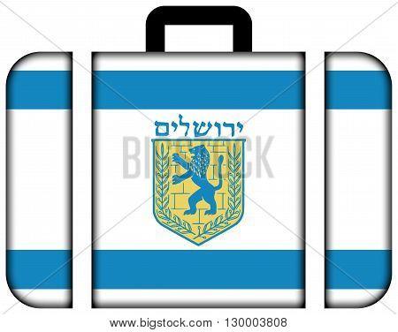 Flag Of Jerusalem. Suitcase Icon, Travel And Transportation Concept