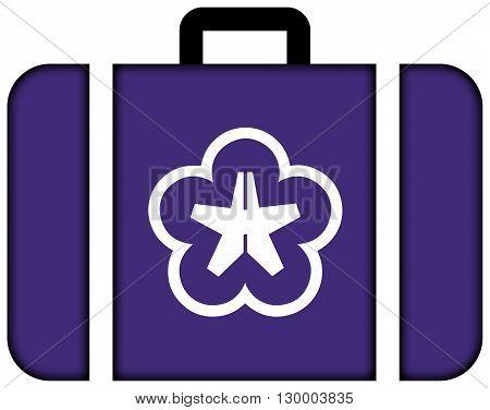 Flag Of Kitakyushu, Japan. Suitcase Icon, Travel And Transportation Concept