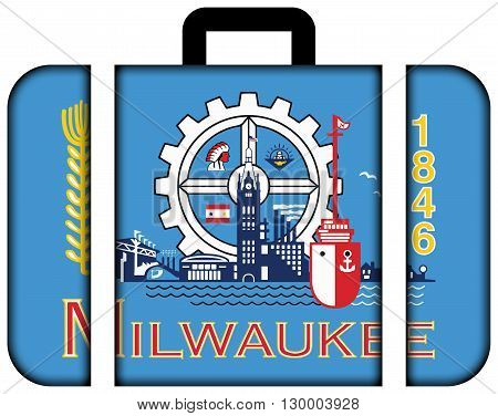 Flag Of Milwaukee, Wisconsin. Suitcase Icon, Travel And Transportation Concept