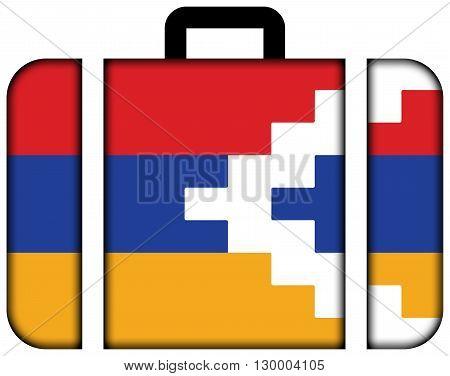 Flag Of Nagorno Karabakh. Suitcase Icon, Travel And Transportation Concept