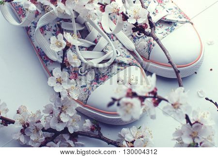 stylish colorful Female summer sneakers over white