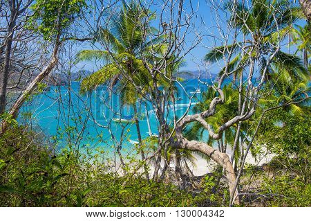 Tropical beach in Tortuga island Costa Rica