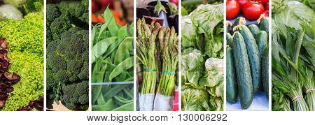 Fresh Green Vegetable Collage
