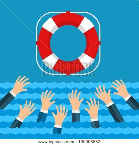 Helping Business survive. Drowning businessman getting lifebuoy from big ship for help, support, and survival. Flat design, vector illustration.