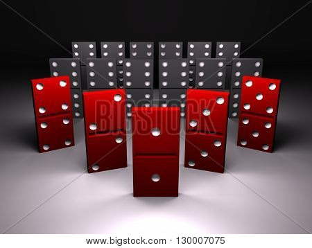red and black domino on gray background